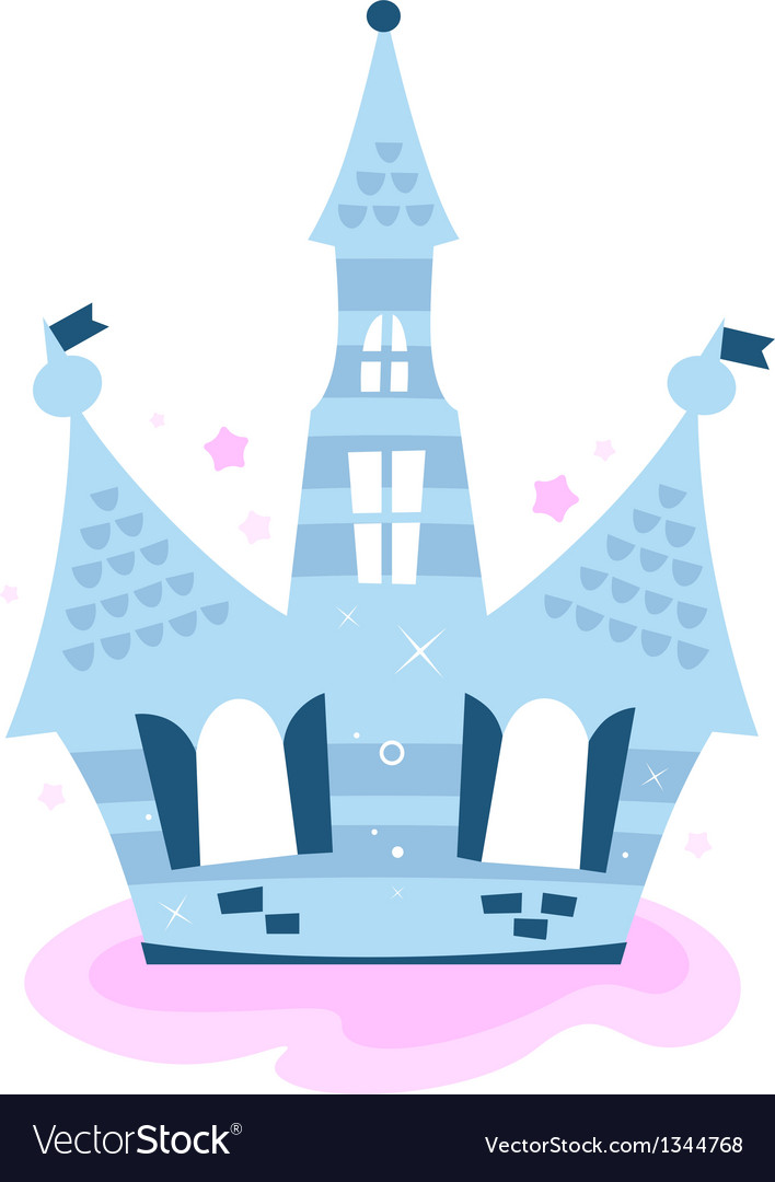 Princess sky castle isolated on white - blue vector | Price: 1 Credit (USD $1)