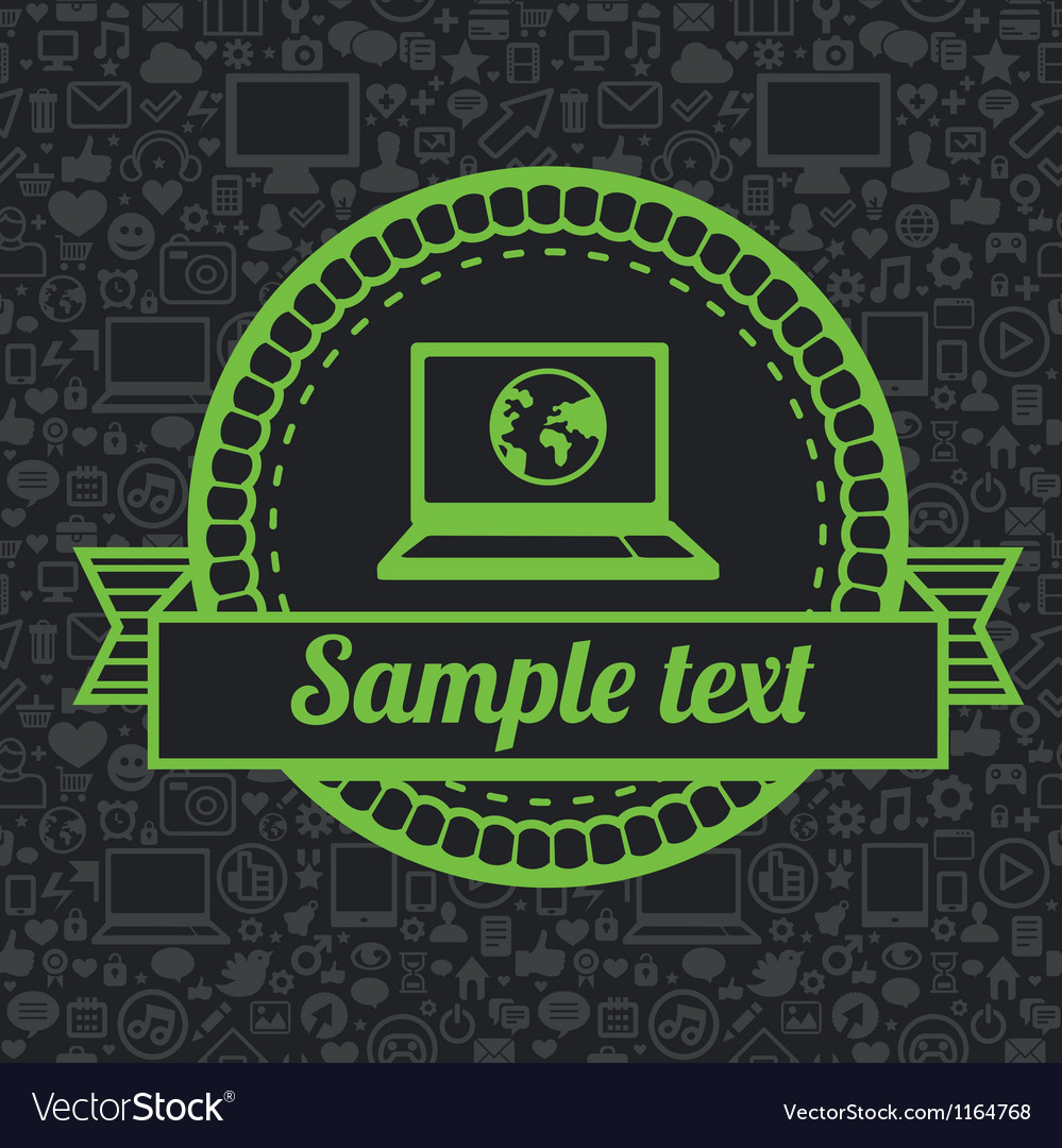 Retro label with laptop icon vector | Price: 1 Credit (USD $1)