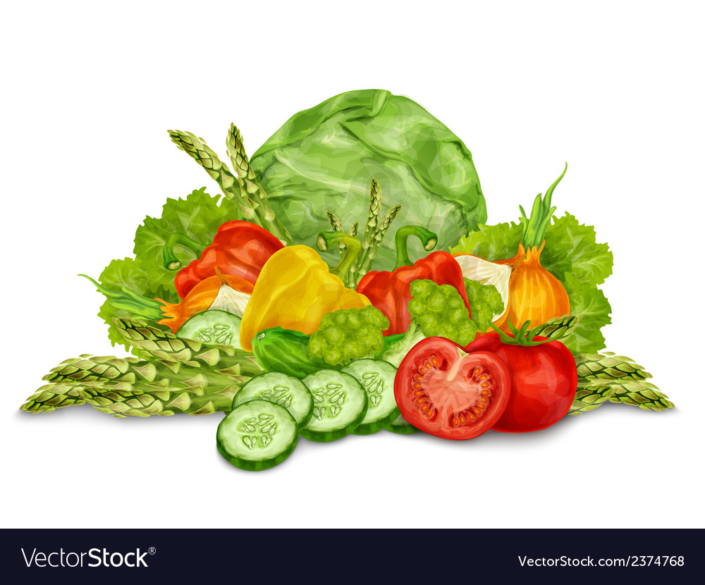 Vegetables mix on white vector | Price: 1 Credit (USD $1)