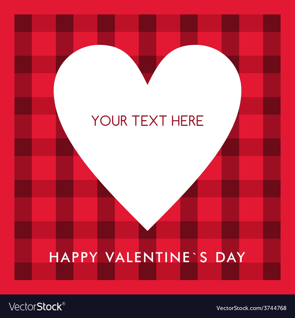 White heart with text on the red checkered vector | Price: 1 Credit (USD $1)