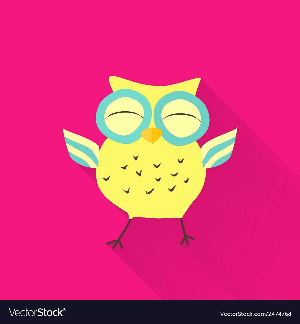 Yellow flat owl over pink vector | Price: 1 Credit (USD $1)