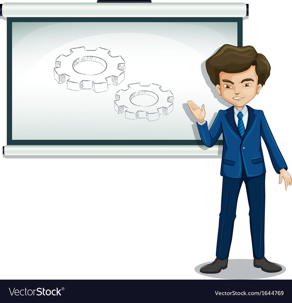 A man explaining the image in the whiteboard vector | Price: 3 Credit (USD $3)