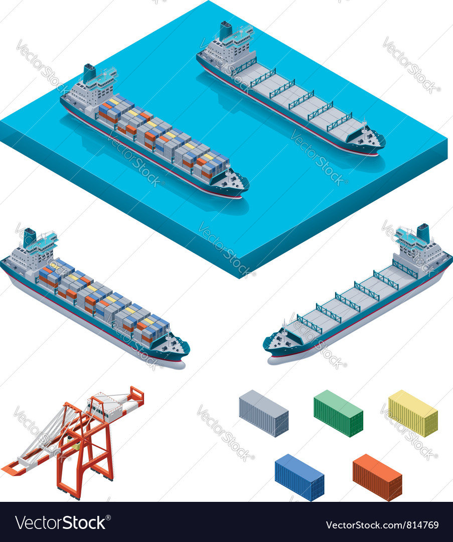 Container ship with crane vector | Price: 3 Credit (USD $3)