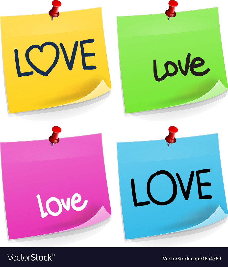 Love sticky note vector | Price: 1 Credit (USD $1)