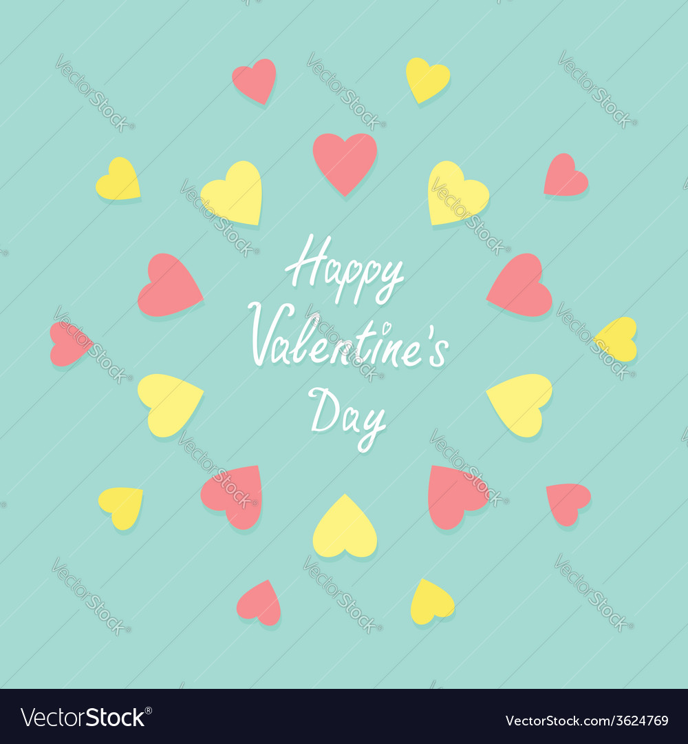 Pink and yellow heart frame background flat vector | Price: 1 Credit (USD $1)