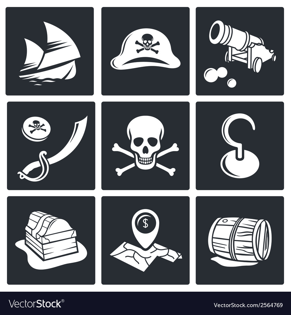 Pirates icon set vector | Price: 1 Credit (USD $1)