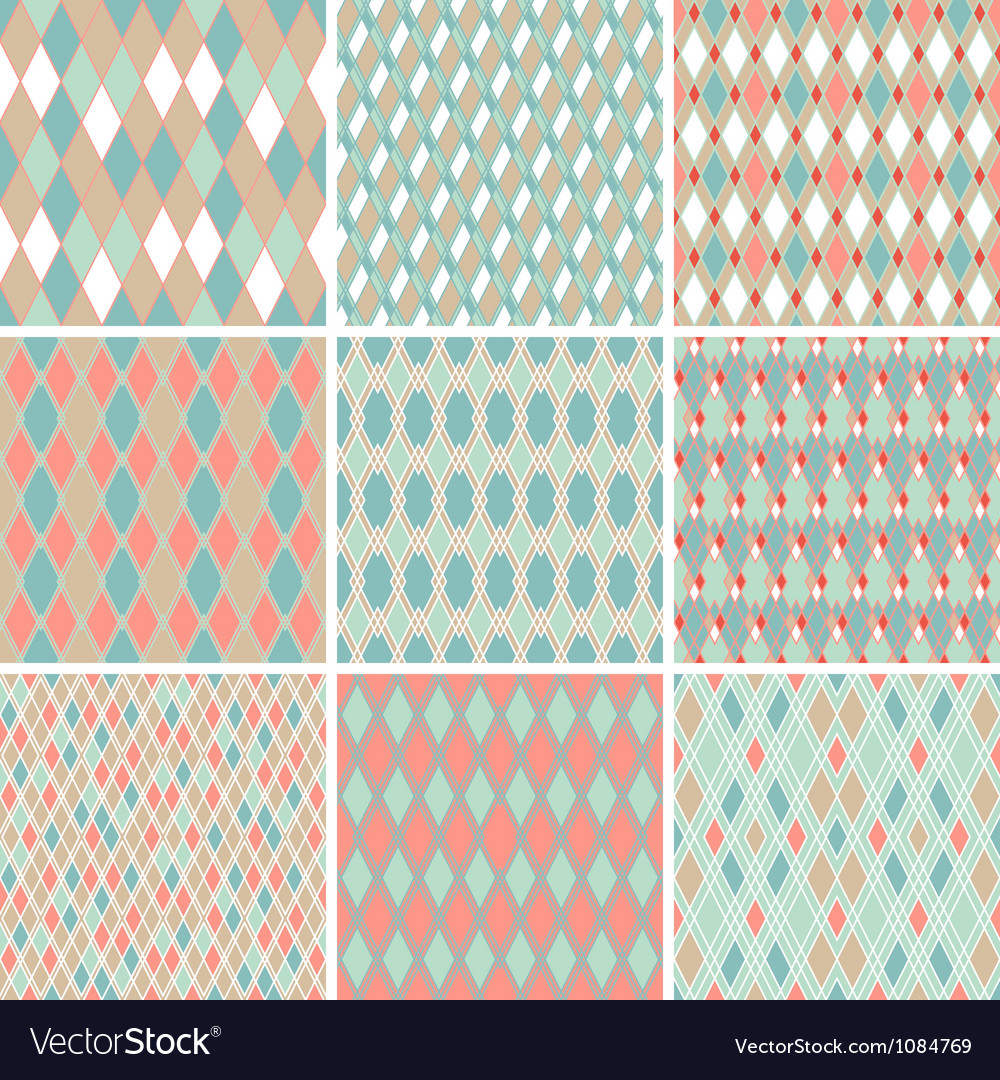 Seamless abstract retro pattern set of 9 geometric vector | Price: 1 Credit (USD $1)