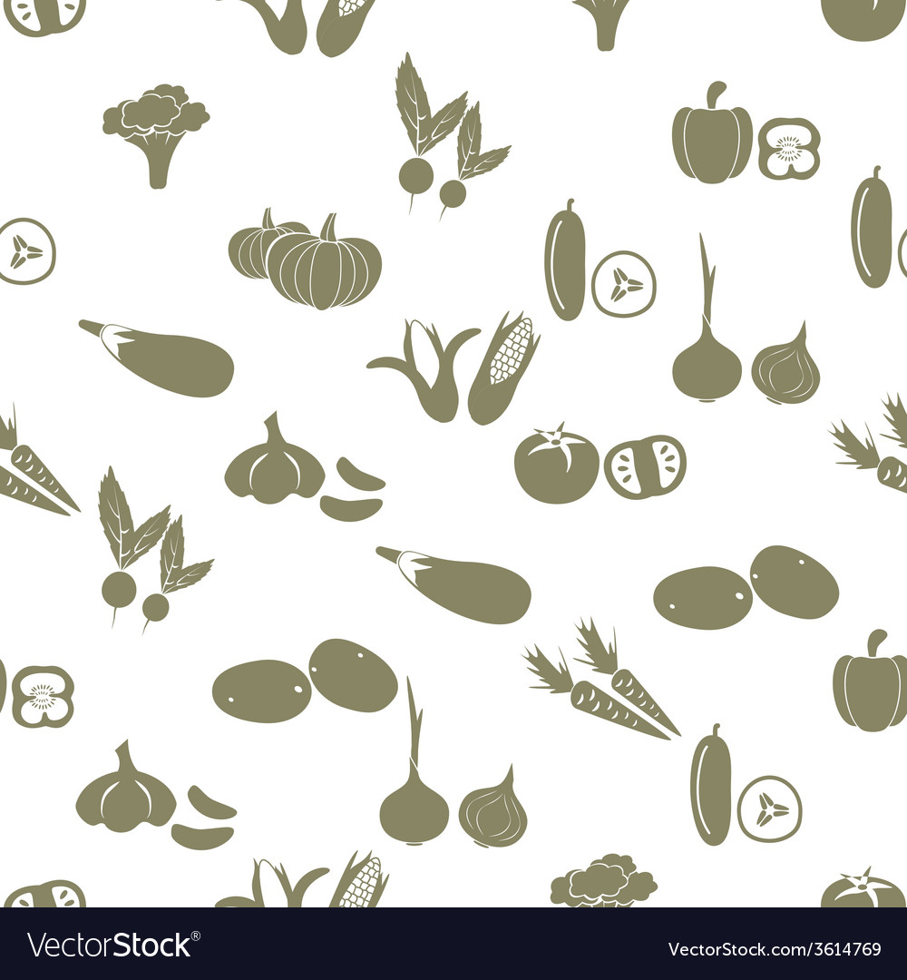 Simple vegetables icons seamless white pattern vector | Price: 1 Credit (USD $1)