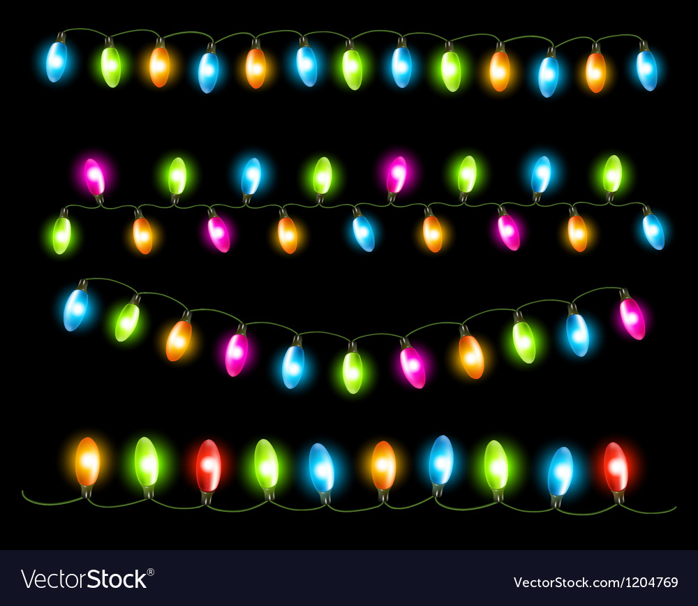 Strings of holiday lights on black background vector | Price: 1 Credit (USD $1)