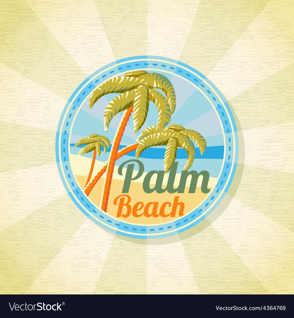 Summer palm beach retro background vector | Price: 3 Credit (USD $3)