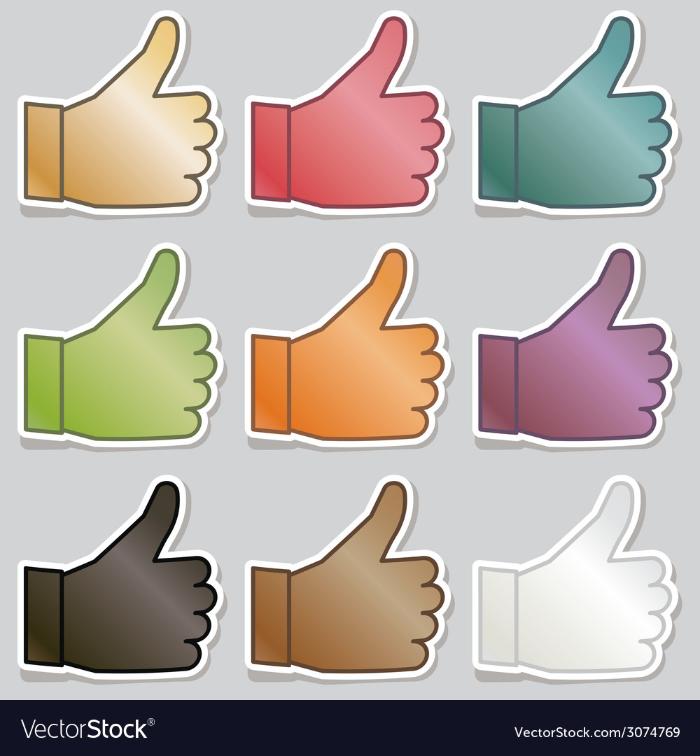 Thumbs up stickers vector | Price: 1 Credit (USD $1)