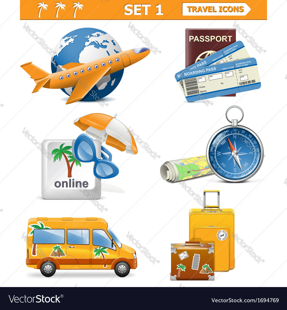 Travel icons set 1 vector | Price: 1 Credit (USD $1)