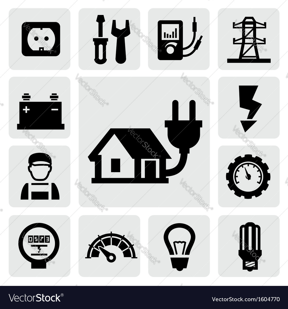 Electricity icons vector | Price: 1 Credit (USD $1)