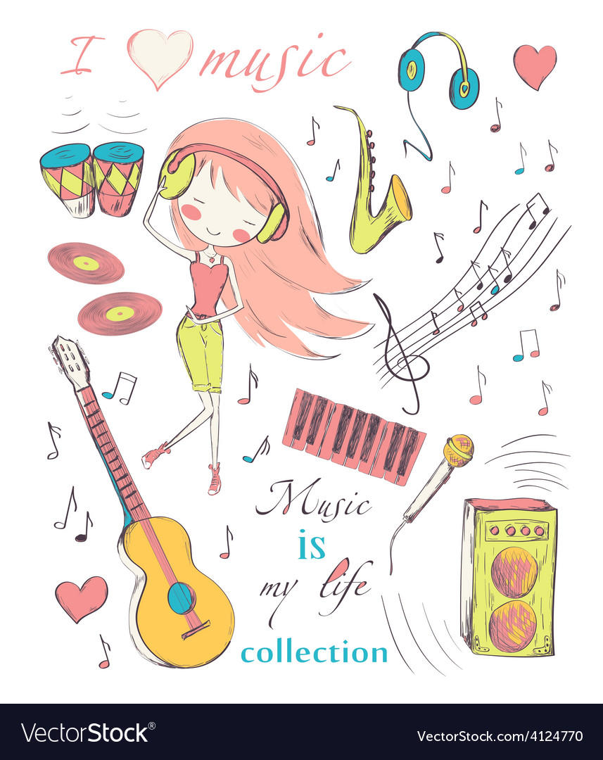 Girl and music vector | Price: 1 Credit (USD $1)