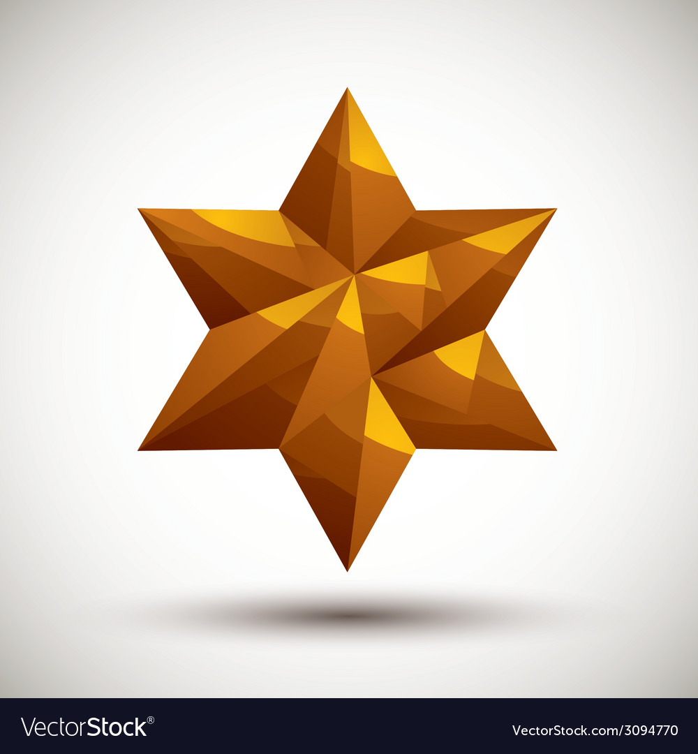 Golden six angle star geometric icon made in 3d vector | Price: 1 Credit (USD $1)