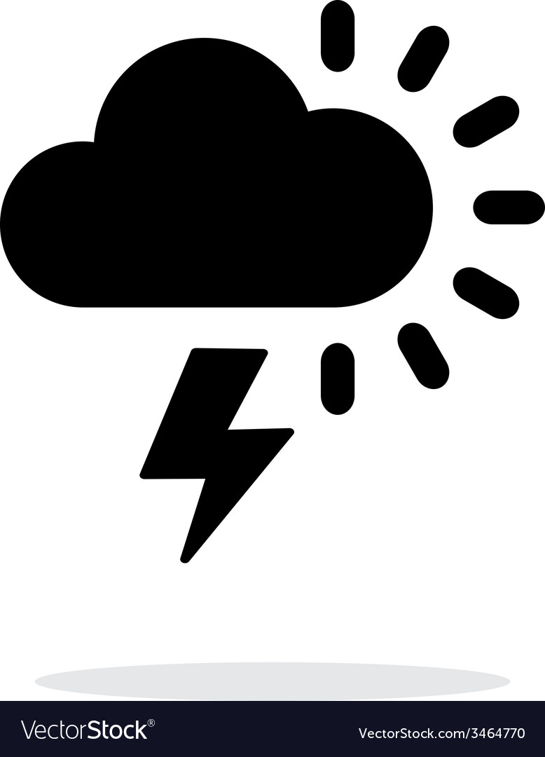 Lightning with sun weather icon on white vector   Price: 1 Credit (USD $1)