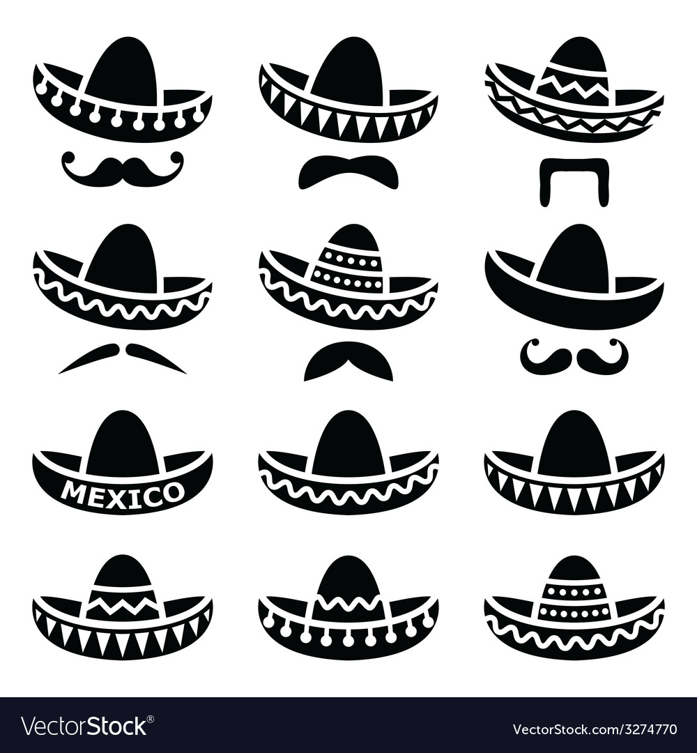 Mexican sombrero hat with moustache icons vector | Price: 1 Credit (USD $1)