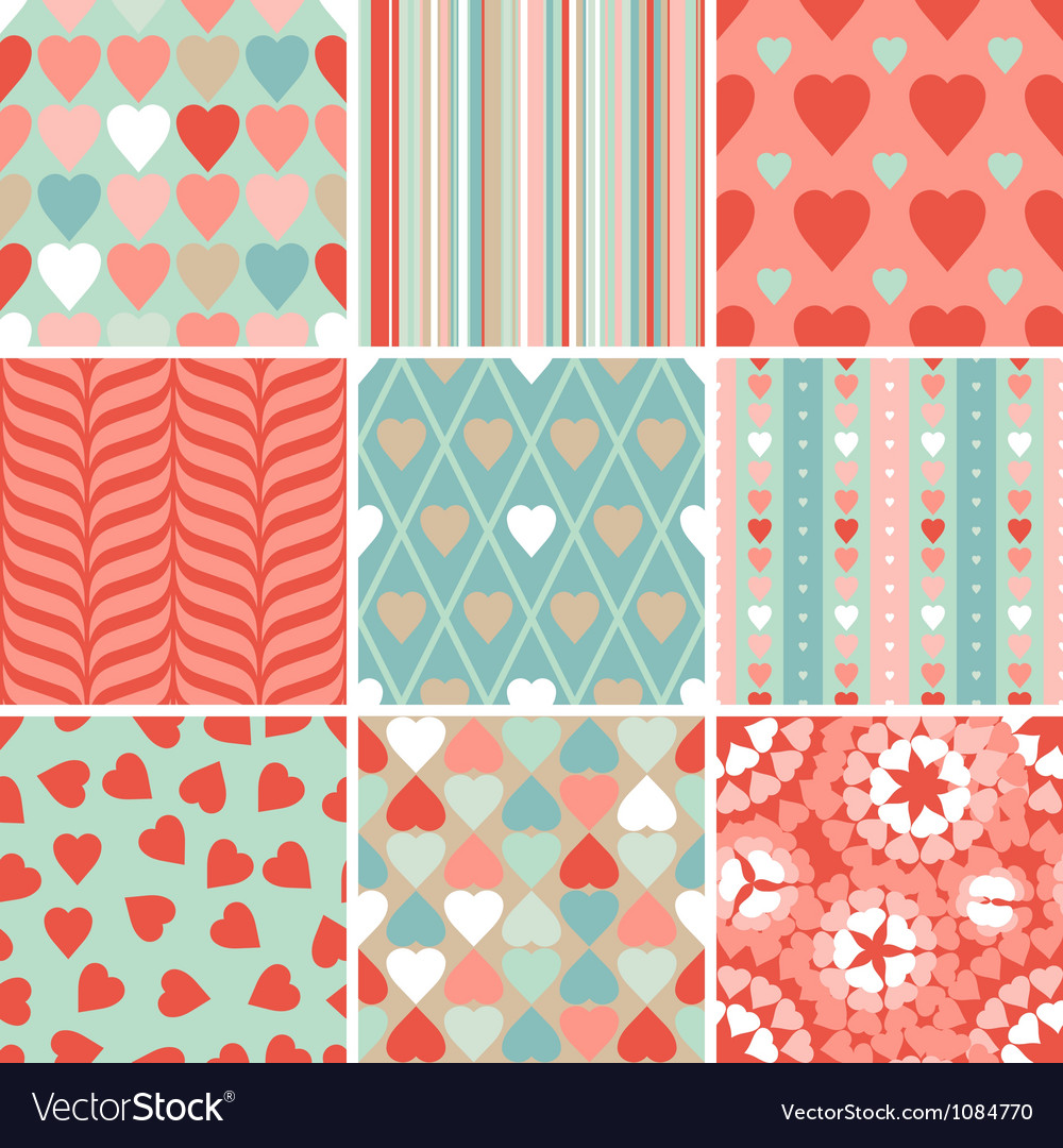 Set of 9 valentines day heart patterns vector | Price: 1 Credit (USD $1)