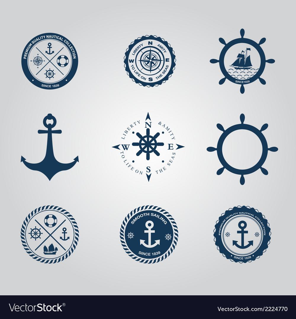 Set of nautical labels icons logo symbol vector | Price: 1 Credit (USD $1)