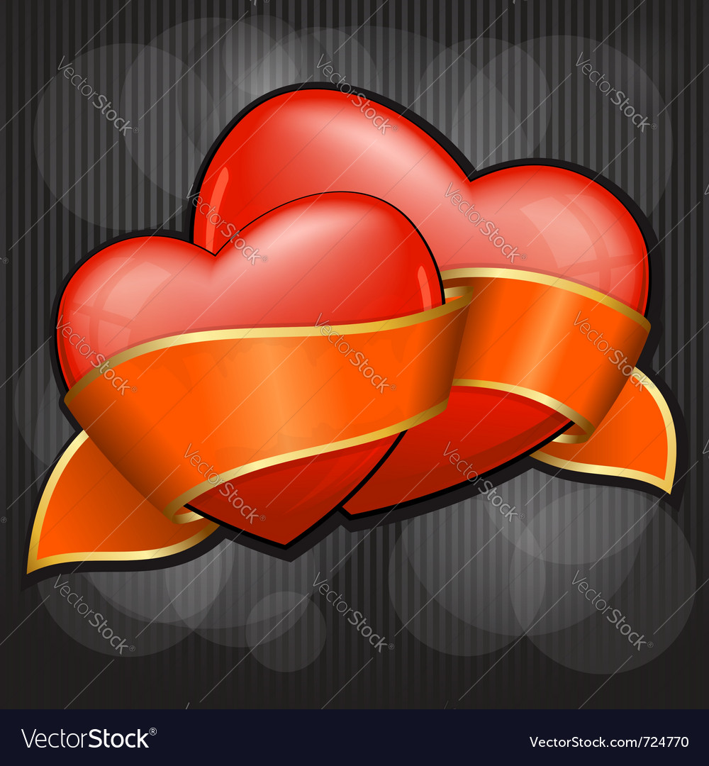 Valentines day two heart with orange ribbon eps 10 vector | Price: 1 Credit (USD $1)