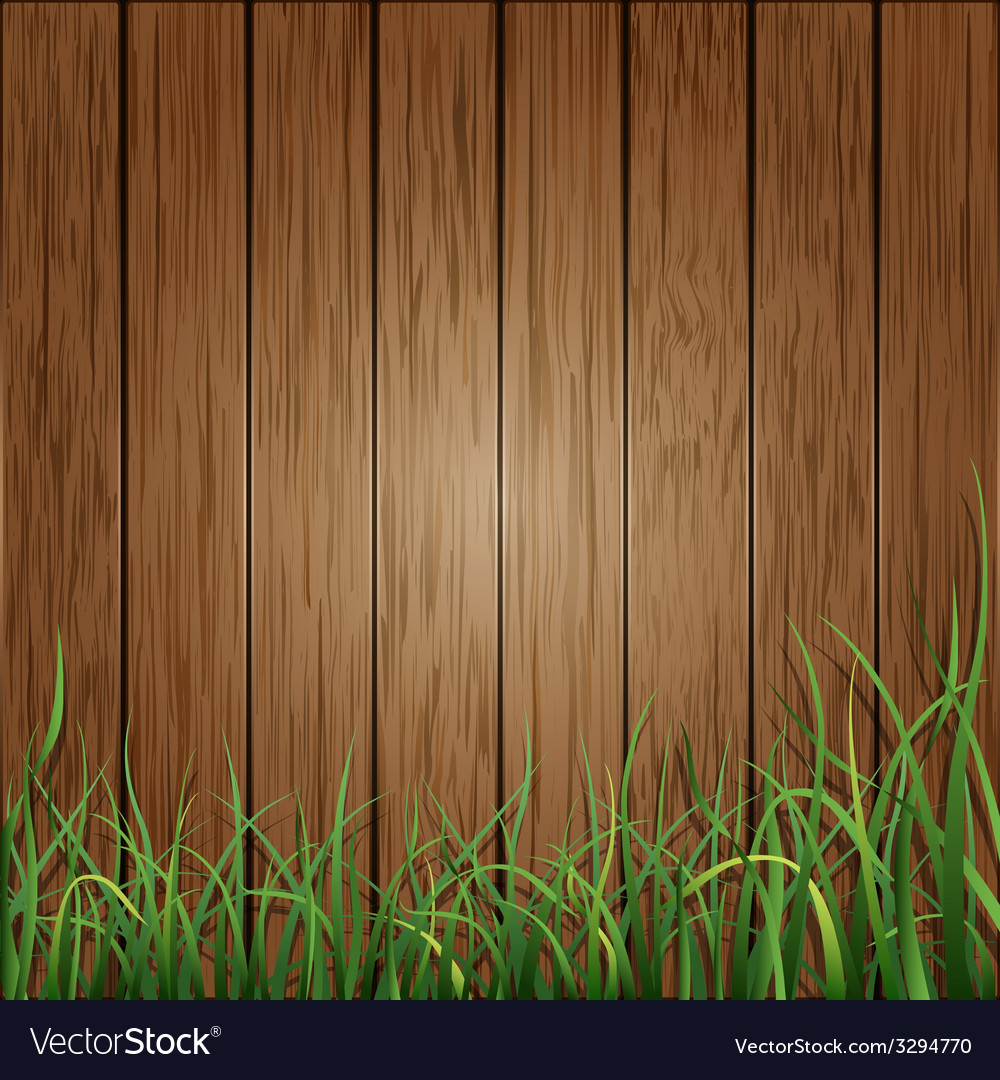 Wood planks and green grass background vector | Price: 1 Credit (USD $1)