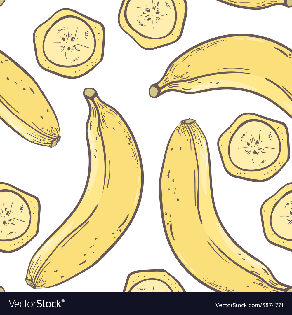 Banana seamless pattern vector | Price: 1 Credit (USD $1)
