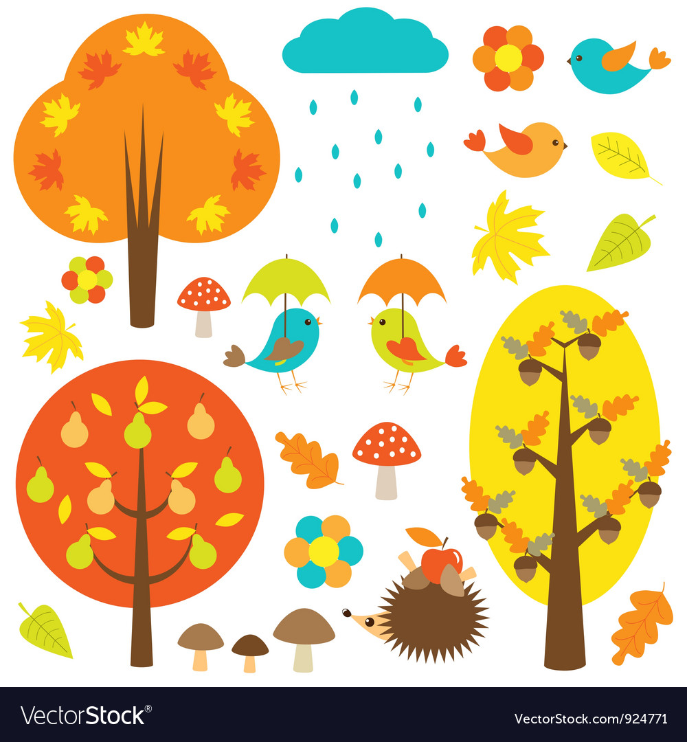 Birds and trees in autumn vector | Price: 1 Credit (USD $1)