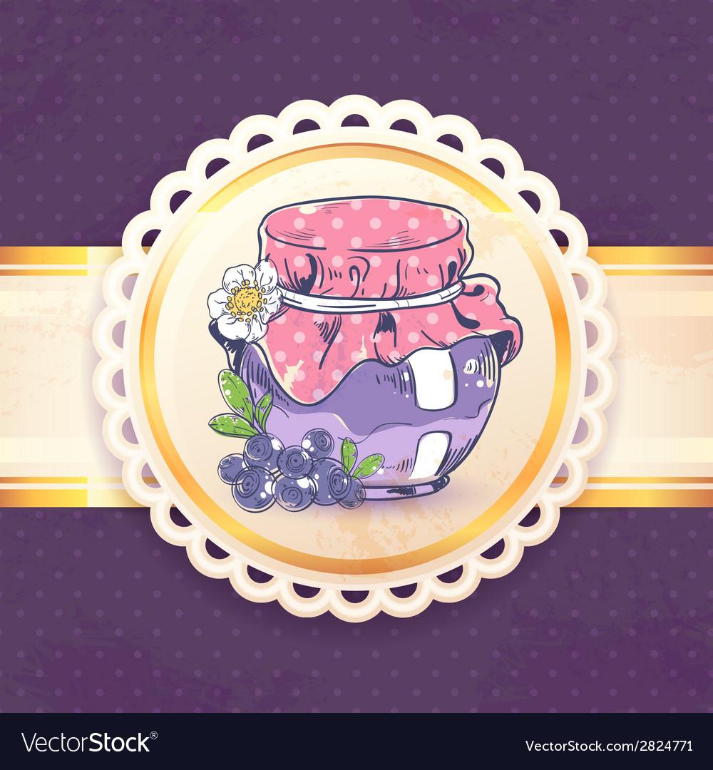 Blueberry jam retro background vector | Price: 1 Credit (USD $1)