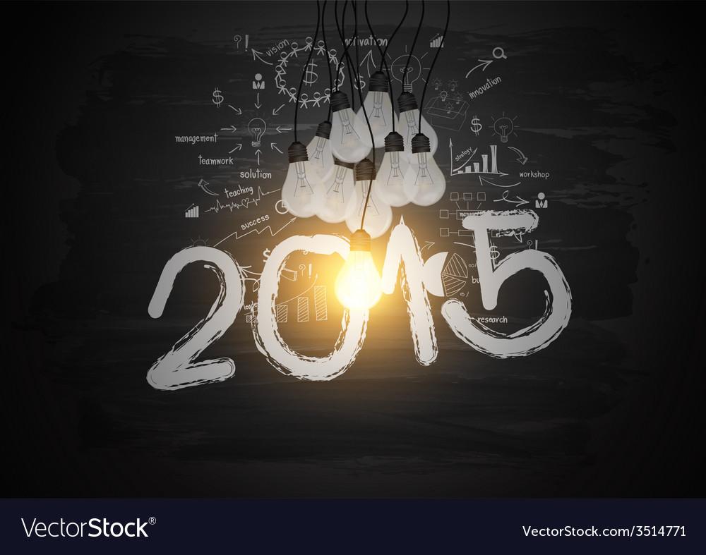 Bright light bulb illuminate the number 2015 vector | Price: 1 Credit (USD $1)