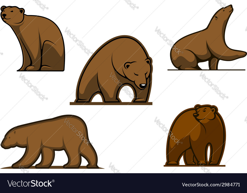 Brown colored bear characters vector | Price: 1 Credit (USD $1)