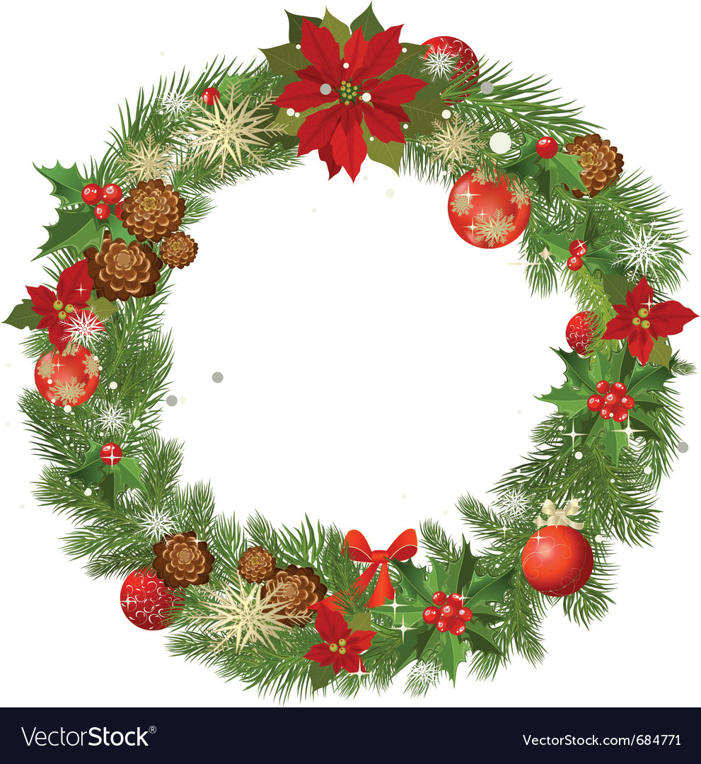 Christmas garland frame vector | Price: 1 Credit (USD $1)
