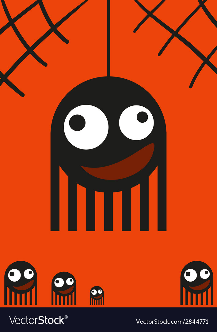 Cute monsters spiders on web halloween card vector | Price: 1 Credit (USD $1)