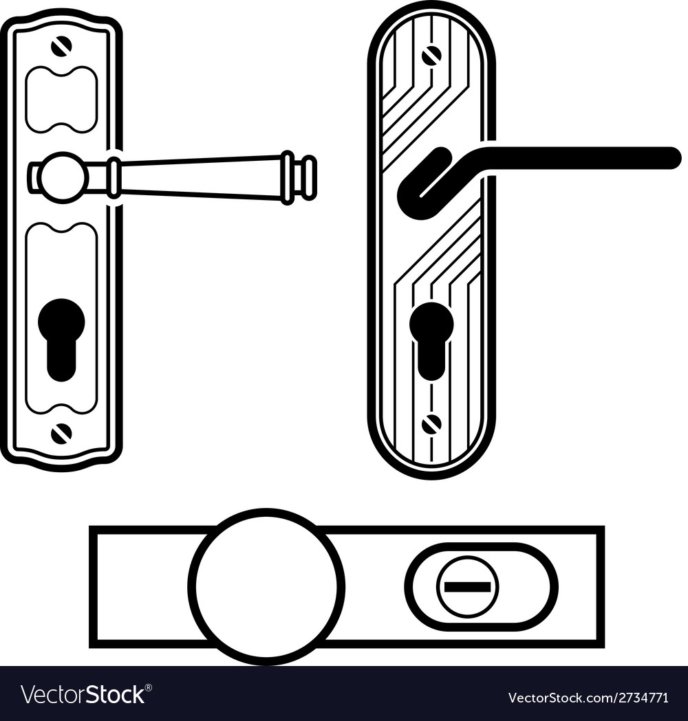 Door handle black icons vector | Price: 1 Credit (USD $1)