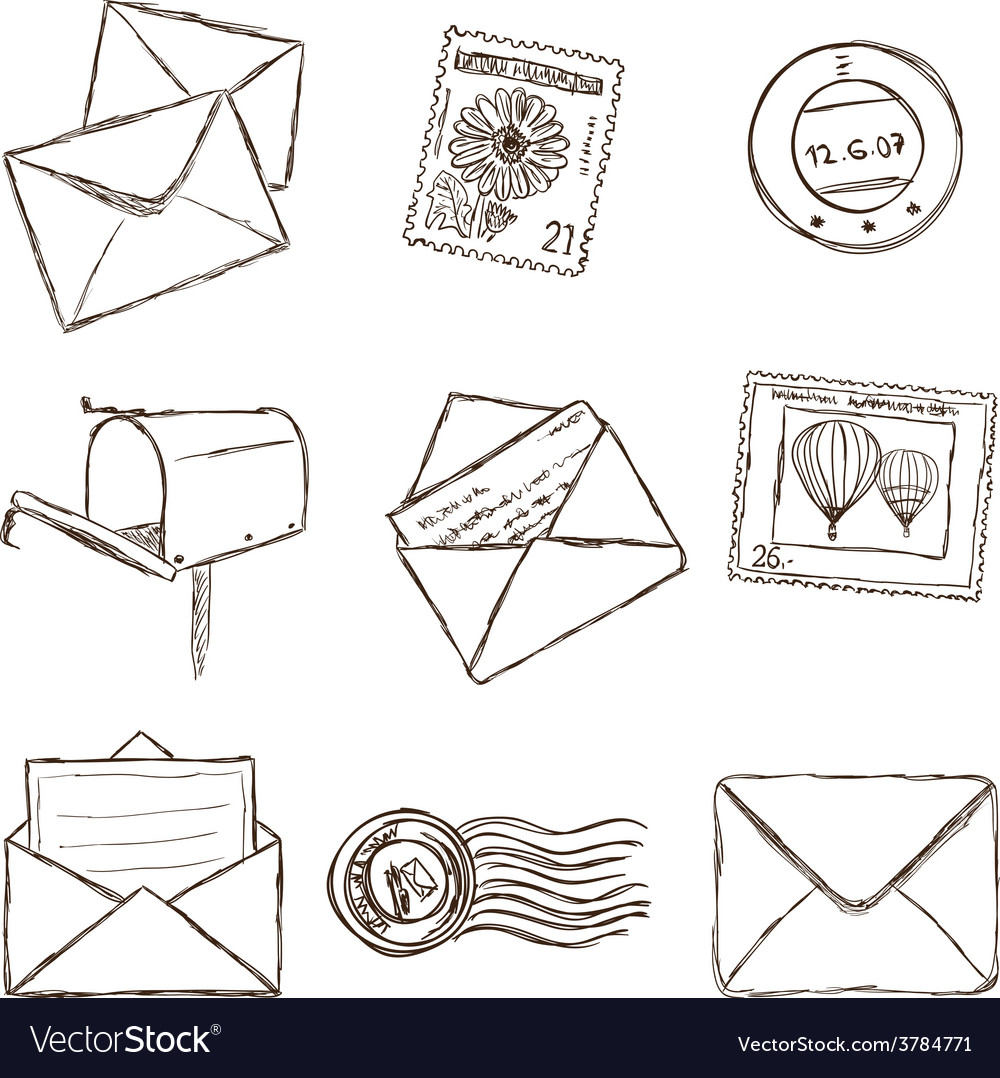 Mailing icons - sketch style vector | Price: 1 Credit (USD $1)