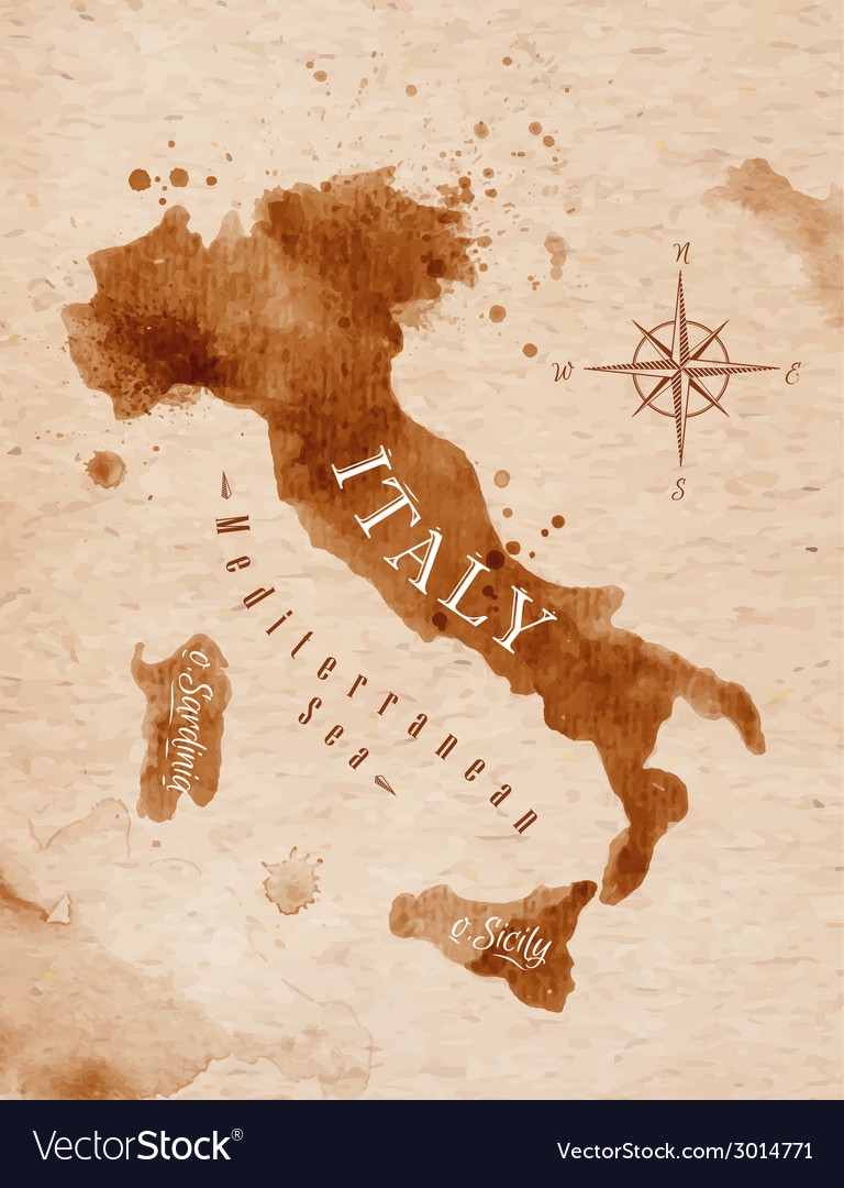 Map italy retro vector | Price: 1 Credit (USD $1)