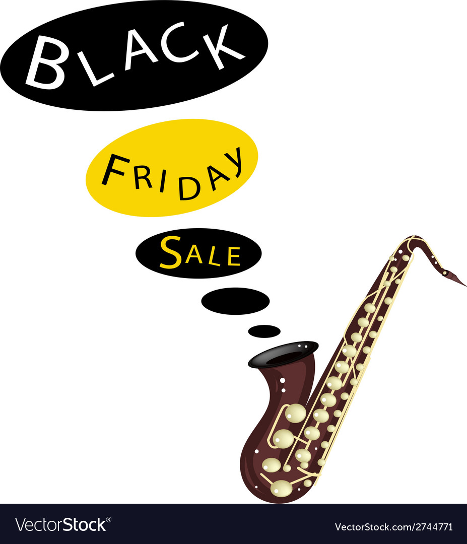 Musical bass saxophone playing black friday sale vector | Price: 1 Credit (USD $1)