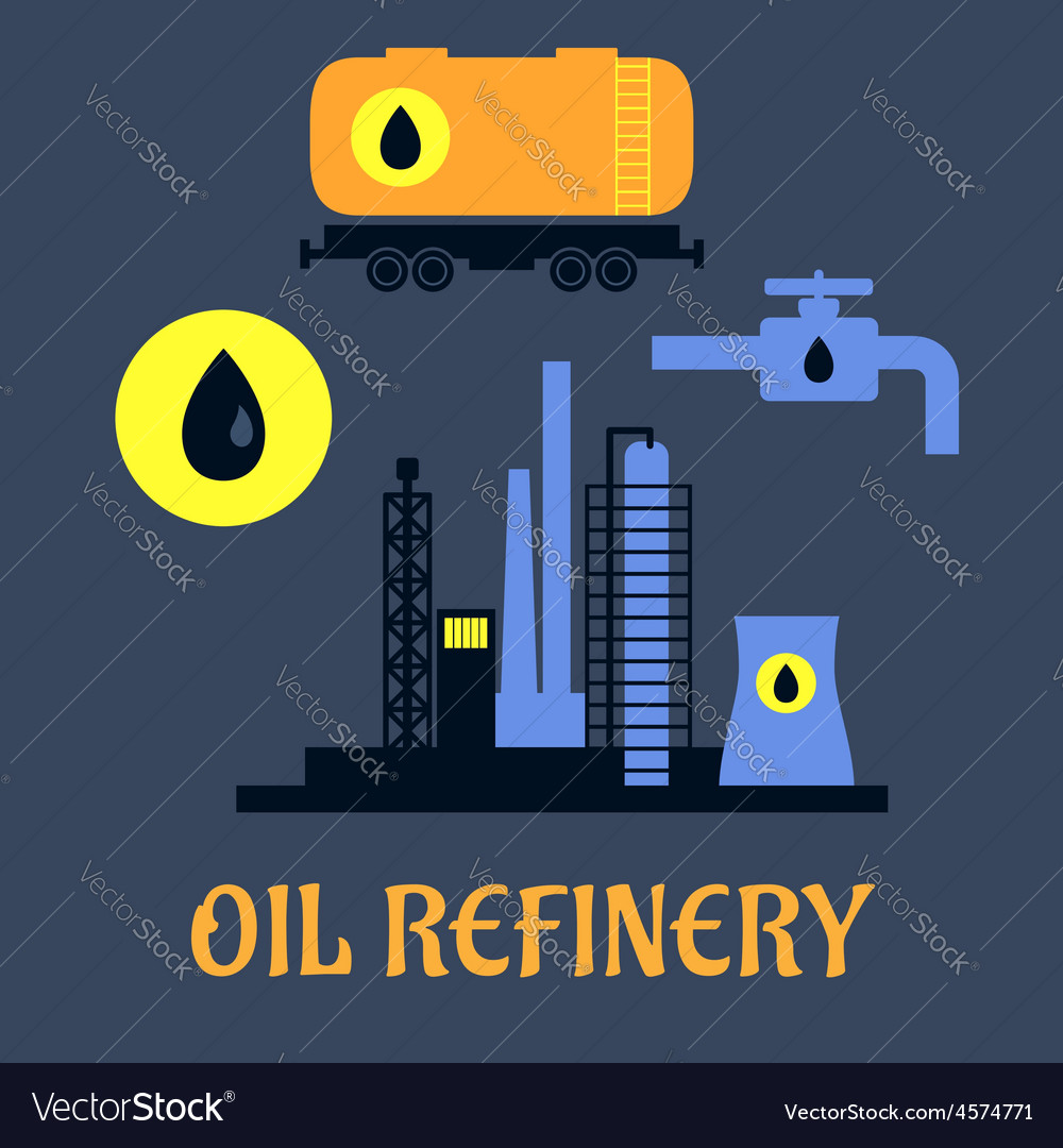 Oil refinery flat industrial icons vector | Price: 1 Credit (USD $1)