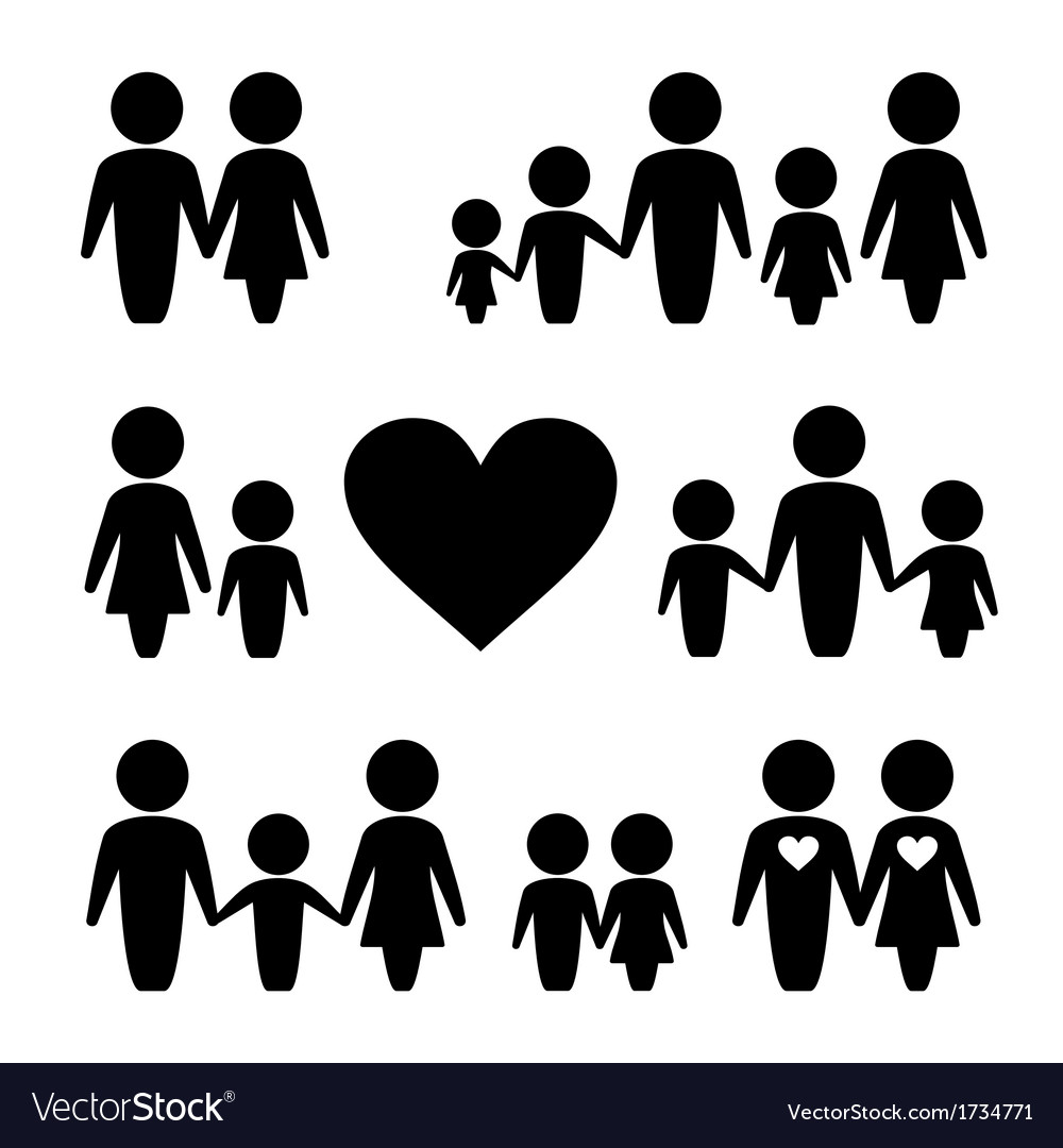 People family icons set vector | Price: 1 Credit (USD $1)
