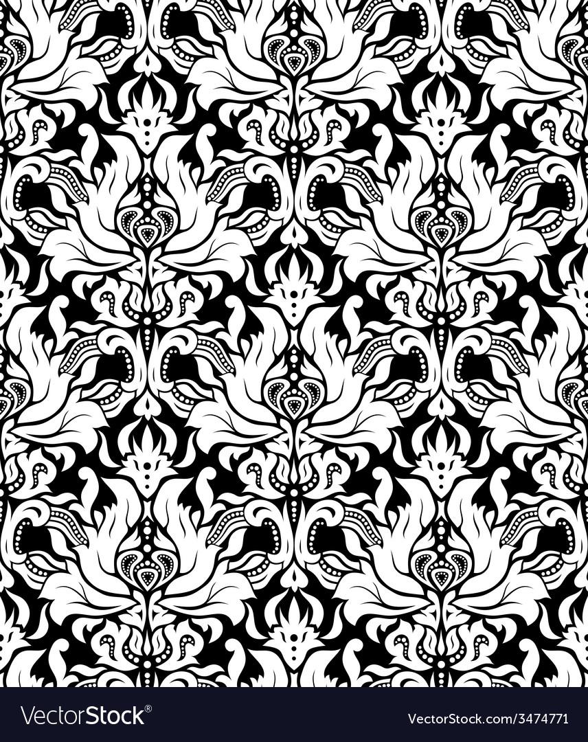 Seamless monochrome damask vintage pattern vector   Price: 1 Credit (USD $1)
