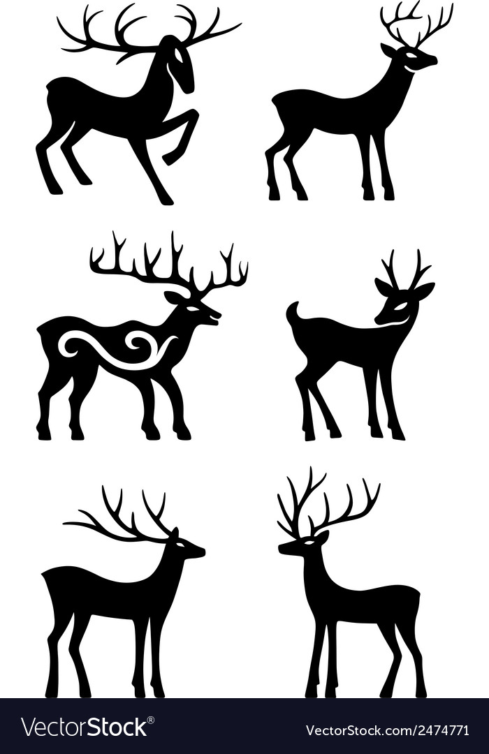 Six deer standing silhouettes vector | Price: 1 Credit (USD $1)