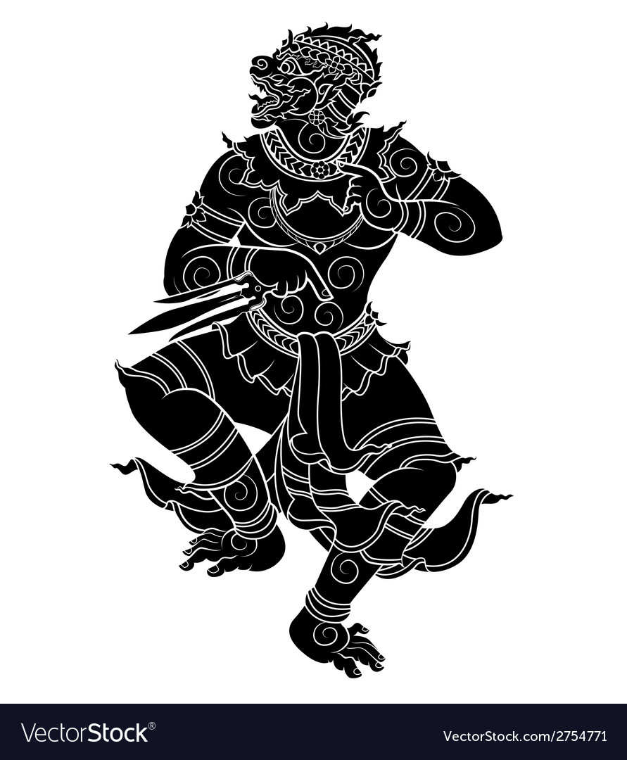 Standing hanuman vector | Price: 1 Credit (USD $1)