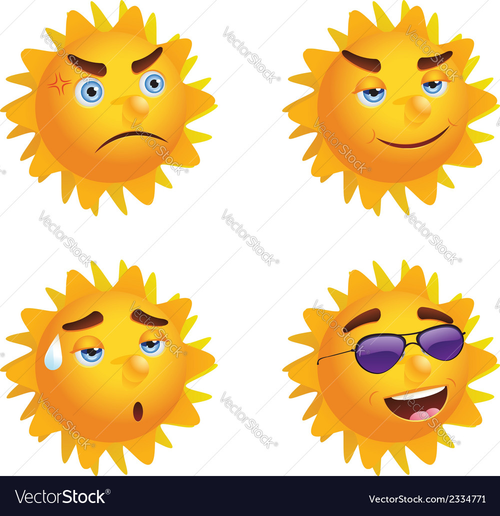 Sun with different emotions vector | Price: 1 Credit (USD $1)