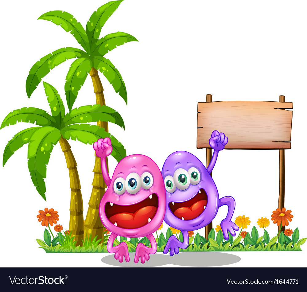 Two happy monsters near the empty wooden signboard vector | Price: 3 Credit (USD $3)
