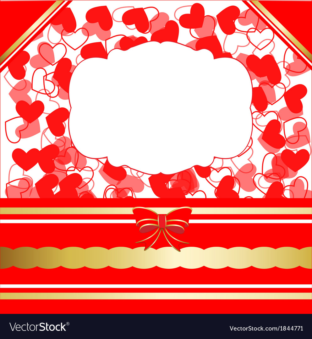 Valentines day greeting card with hearts and lacy vector | Price: 1 Credit (USD $1)