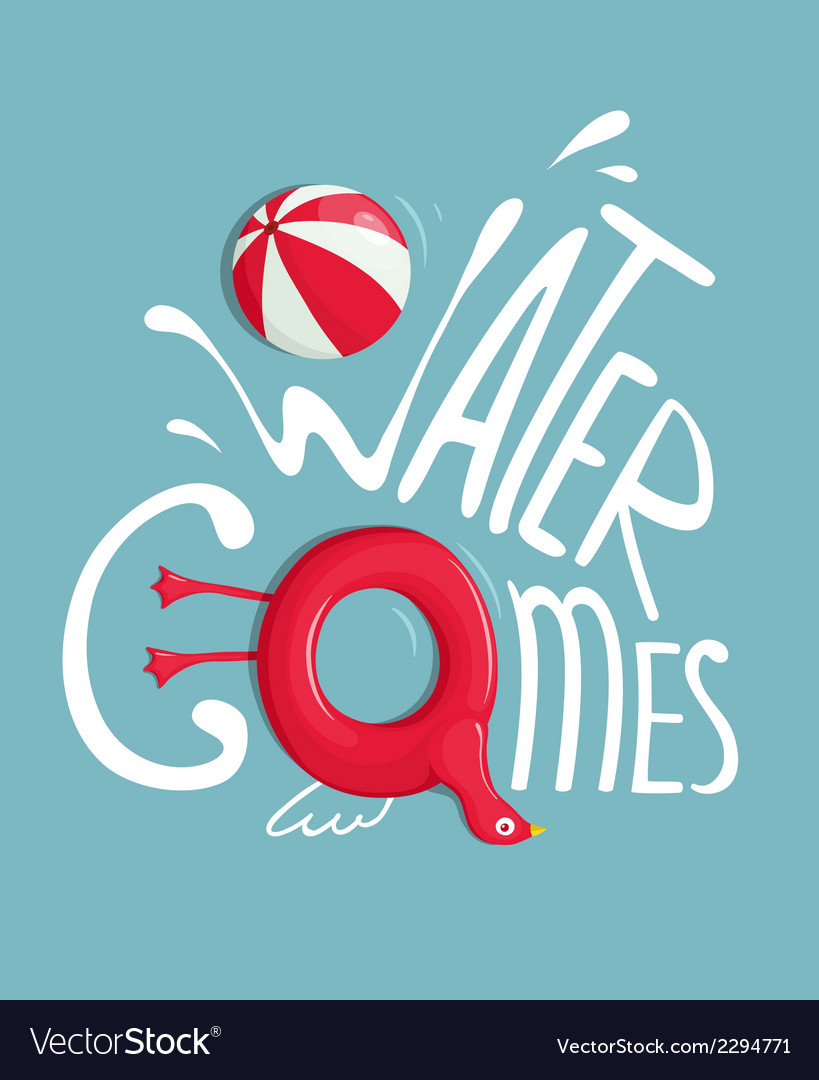 Water games with inflatables lettering poster vector | Price: 1 Credit (USD $1)