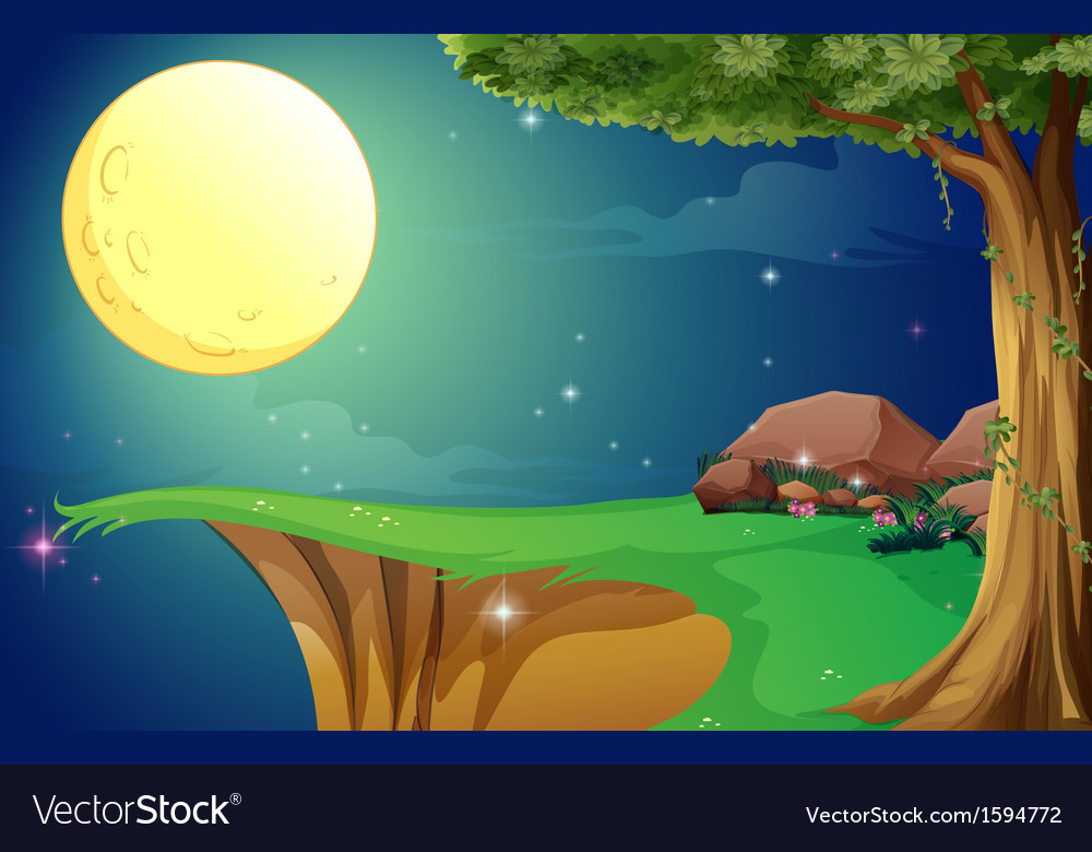 A bright fullmoon and the cliff vector | Price: 1 Credit (USD $1)