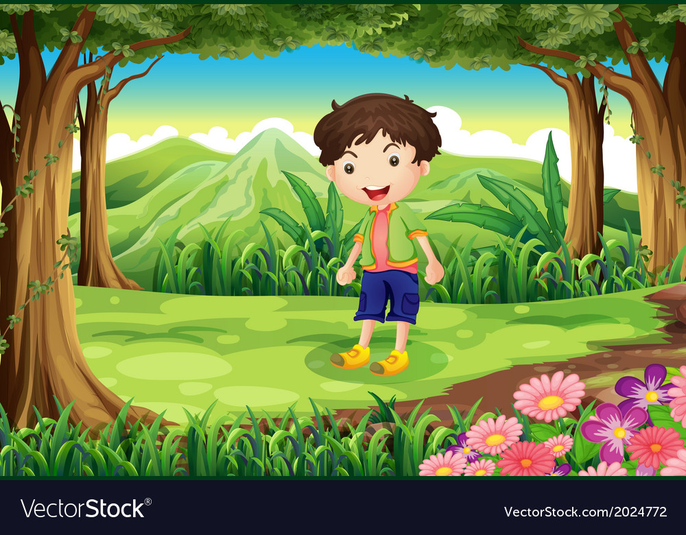 A playful kid at the forest vector | Price: 3 Credit (USD $3)