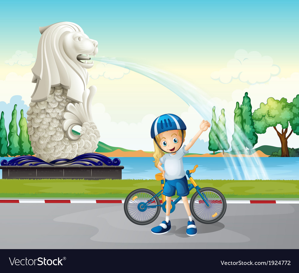 A young biker near the statue of merlion vector | Price: 3 Credit (USD $3)