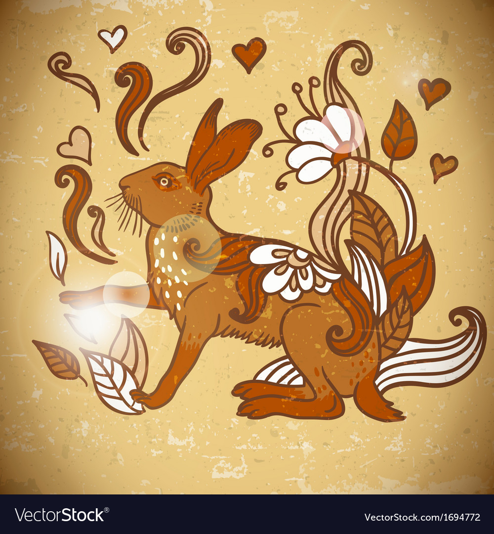 Animal background pattern with rabbit vector | Price: 1 Credit (USD $1)