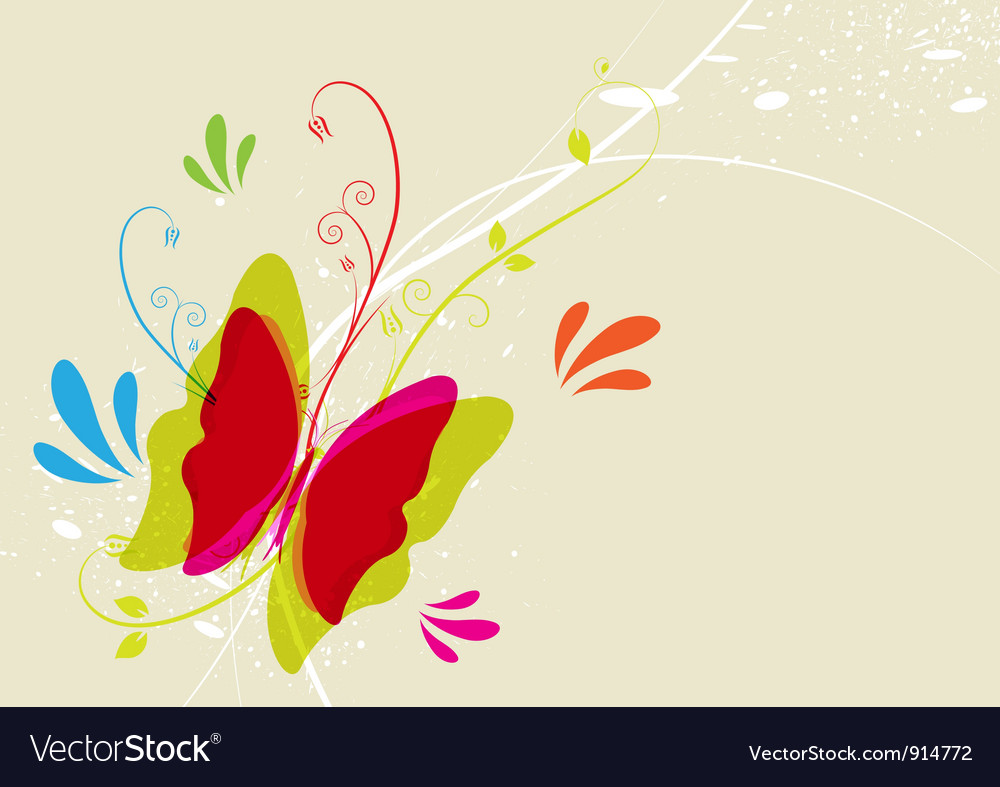 Butterfly and floral vector | Price: 1 Credit (USD $1)